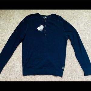 Mens Size L Crew Neck Sweater 100% Cotton Navy